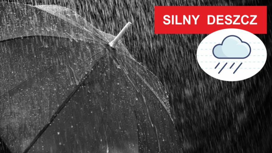 Uwaga - ostrzeżenie o silnym deszczu